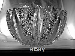 1-1 Rated 14 Cut Glass Punch Bowl Hawkes Grecian 120 Year Old Antique Crystal