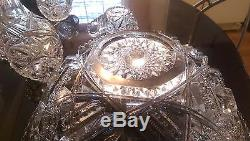 100+ Year Old Two Peice. 10 Cup Punch Bowl Set. Press cut