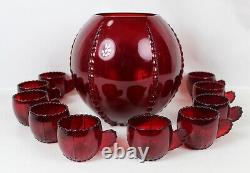 11 pcs New Martinsville Viking RADIANCE Ruby RED Punch BOWL with Cups DEPRESSION