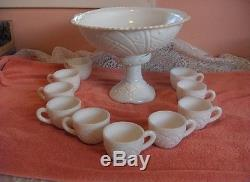 12 Pc Vintage McKee Milk Glass Concorde Depression Punch Bowl Cups Stand NICE
