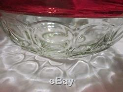 13 Piece Indiana Colony Lexington Ruby Red & Clear Glass American Punch Bowl Set