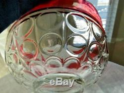 13 Pc Indiana Glass Clear Ruby Flash Lexington Thumbprint Punch Bowl & 12 Cups