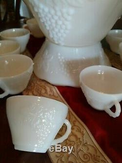 13 pcs Vintage Anchor Hocking Milk Glass Punch Bowl, Base, & Cups Embossed Grape