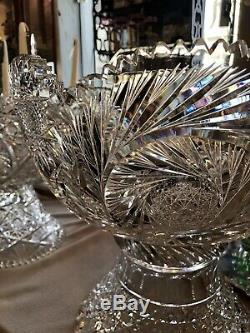 14 Large American Brilliant Period ABP Punch Bowl on Stand