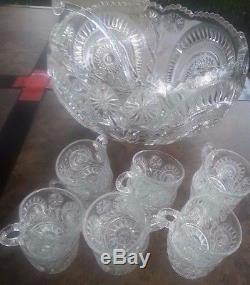 14 PC SET PINWHEEL STAR PUNCH BOWL CUPS L E SMITH SLEWED HORSESHOE PARTY