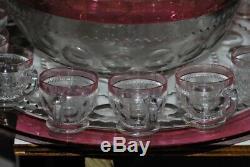 14 Pc Tiffin Kings Crown Thumbprint Flashed PUNCH BOWL SET