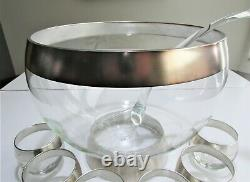 14 Piece Vintage LUXE Dorothy THORPE Silver GLASS ROLY POLY Punch Bowl SET