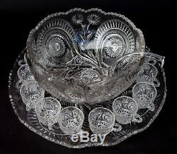 15pc L. E. SMITH Slewed Horseshoe Radiant Daisy Punch Bowl Underplate 12 Cups