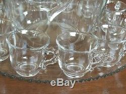 15pc Set Imperial Glass CANDLEWICK Glass Punch Bowl, Under Plate, Ladle, 12 Cups