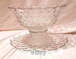 18 Fostoria American GIANT PUNCH BOWL Original Stand 19 Torte Plate 16 Cups