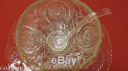 18-pc L E Smith Punch Bowl Set-Slewed Horseshoe, Pinwheel Star-Bowl, Plate, Cups, Ld