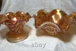1900s Punch Bowl/Stand, Fashion Marigold (Carnival) 6 Cups by IMPERIAL GLASS