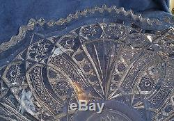 1901 Antique Cambridge Glass Wheat Sheaf Near Cut Punch Bowl with 11 cups