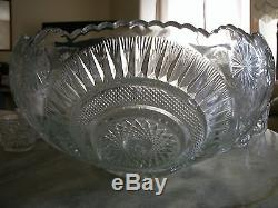 1908 EAPG PRESSED GLASS SLEWED HORSESHOE RADIANT DAISY U. S GLASS CO. PUNCH BOWL