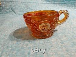1910 Imperial Hobstar Marigold Carnival Iridescent Punch Bowl Set