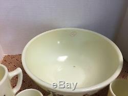 1930's McKee Glass Co. CUSTARD Tom & Jerry Punch Bowl Set 17316D S134