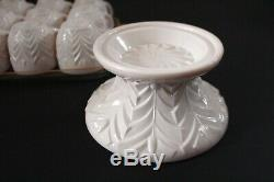 1950's Jeanette Shell Pale Pink Feather Milk Glass Punch Cups and Bowl Stand-14p