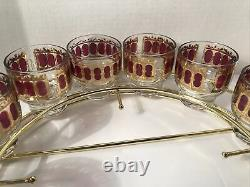 1960s MCM Culver Scrolls Cranberry Punch Bowl 12 Roly Poly Glasses Caddy Ladle