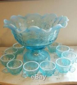 1991 Fenton Stiegel Blue Opalescent Punch Bowl Set