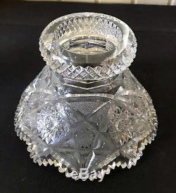 19th Century Libbey Colonna American Brilliant Cut Glass Punch Bowl