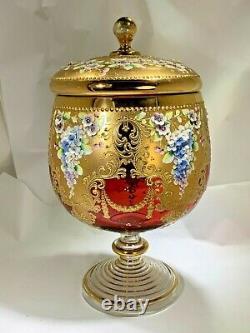 19th Century Rare Moser 15 Piece Large Punch Bowl Set Enamel Floral Decoration