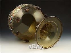 19thC Theresienthal Bohemian Blown Art Glass Enamel Painted Punch Bowl & Goblets