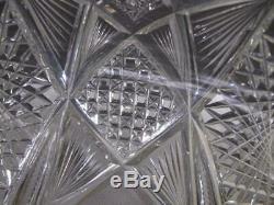 2 Piece ABP Cut Glass Punch Bowl Antique