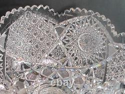 2 Piece ABP Cut Glass Punch Bowl Antique brillant