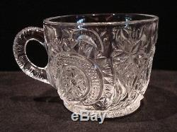 21 Piece L E Smith Glass Clear Pinwheel & Star Slewed Horseshoe Punch Bowl Set