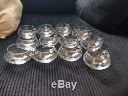 24PC Hand Blown Crystal Moderno Riekes Crisa Punch Bowl Set NEW! Low Price