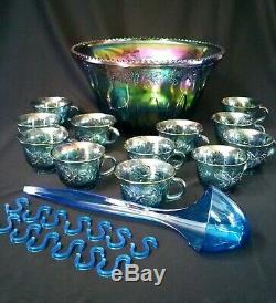 27 Pc Blue Carnival Punch Bowl Indiana Glass Harvest Grape Leaves Princess Blue
