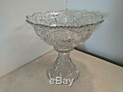 27 pc Vintage Imperial Glass Whirling Star of David Pedestal Punch Bowl Set NICE