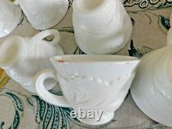 49 Piece Indiana Glass Punch Bowl Set Milk Glass Bowl Cups Ladle And Hooks