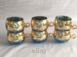 7-Piece Vintage Bohemia Czech Covered Punch Bowl with 6 matching cups