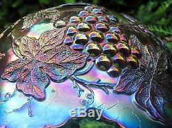 A Gorgeous Antique Dugan Many Fruits Pattern Carnival Glass Punch Bowl