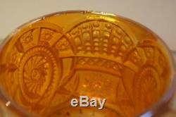 A Lovely Large Carnival Glass Punch Bowl, Stand And 7 Cups