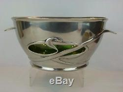 A Very Rare Liberty & Co Tudric Pewter and Glass Punch Bowl by Archibald Knox
