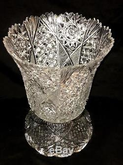 ABP American Brilliant Cut Crystal Glass French Compote Dessert Punch Bowl