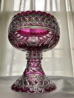 ABP American Brilliant Pairpoint Mt Washington Amethyst Cut To Clear Punch Bowl