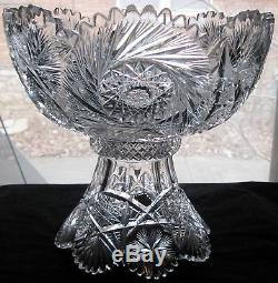 ABP American Brilliant Period Cut Glass Large 14 1/2 Punch Bowl Base & 9 Cups