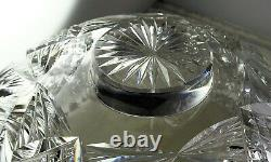 ABP American Brilliant Period Cut Glass Punch Bowl & Base Flashed Stars Hobstars