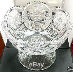 Abp Cut Glass Heavy And Brilliant Punchbowl Cut In Meridan Pattern #136