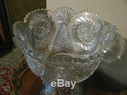 ABP Cut Glass Punch Bowl 13 1/2 t x 12 1/2 w Beautiful! SALE