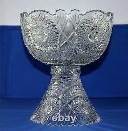 ABP Higgins & Seiter Cut Glass FAUNTLEROY Egg Nog Punch Bowl & Pedestal StandSet