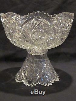 ABP Libbey Cut Glass Punch Bowl & Stand Buzzsaw & Hobstar Cutting