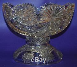 AMAZING American Brilliant Cut Glass/Crystal ABP Punch Bowl with Pedestal