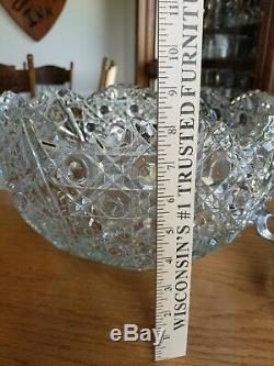 AMAZING! Gorgeous Vintage 41 Piece L. E SMITH GLASS DAISY & BUTTON PUNCH BOWL SET