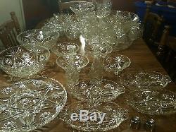 AMAZING Vintage Star of David Crystal Glass Punch Bowl Set Cake Relish Plate
