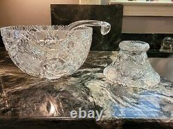 AMERICAN BRILLIANT (ABP) CUT GLASS PUNCH BOWL & STAND, c. 1880-1920 with LADLE