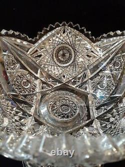 AMERICAN BRILLIANT Cut Glass 2PC PUNCH BOWL Pedestal Bowl 10 T x 10 W